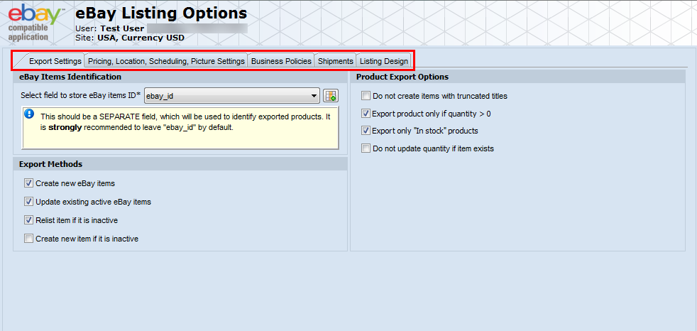 magento ebay integration listing option configuring