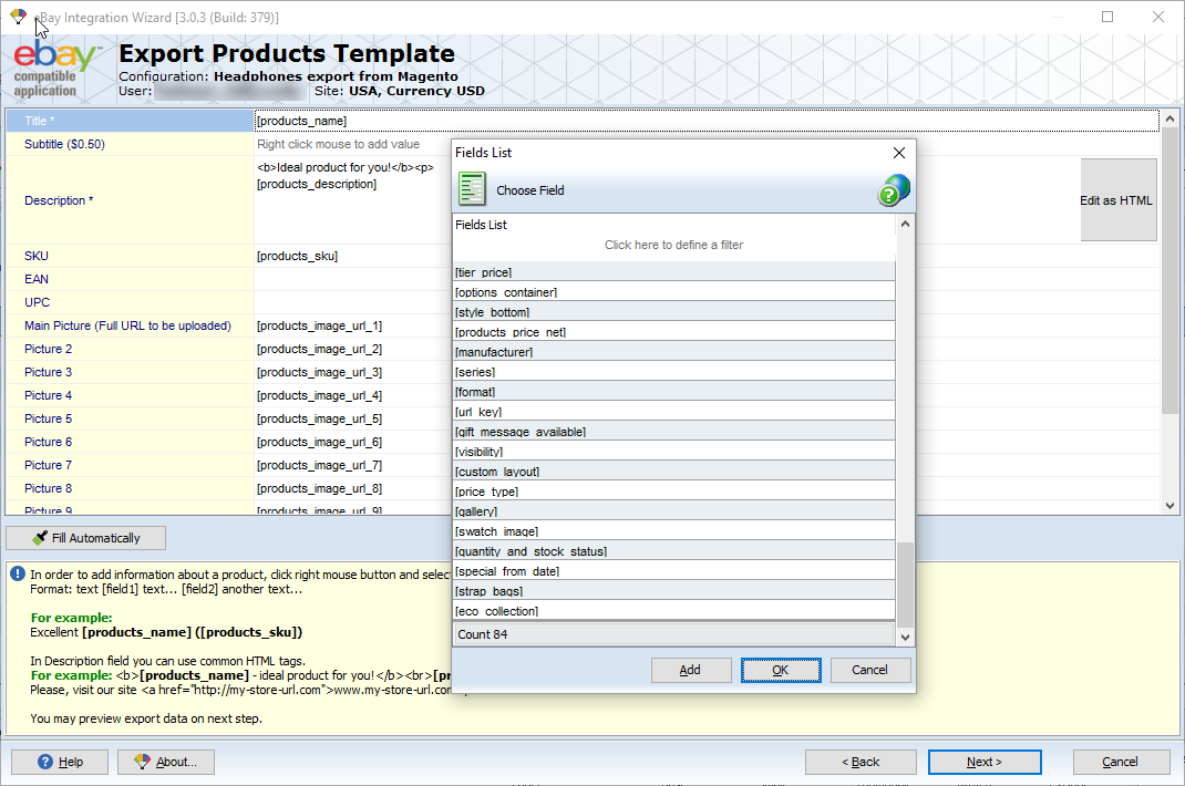 magento ebay product export template settings