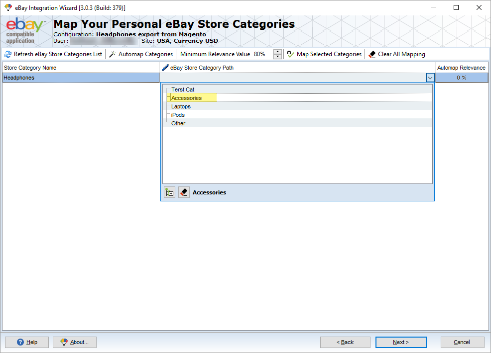 map categories in magento ebay integration addon