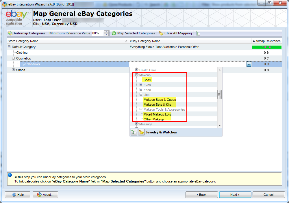 map magento categories with ebay categories in addon