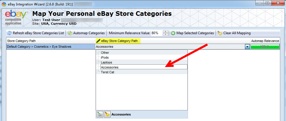 map magento categories with ebay store categories
