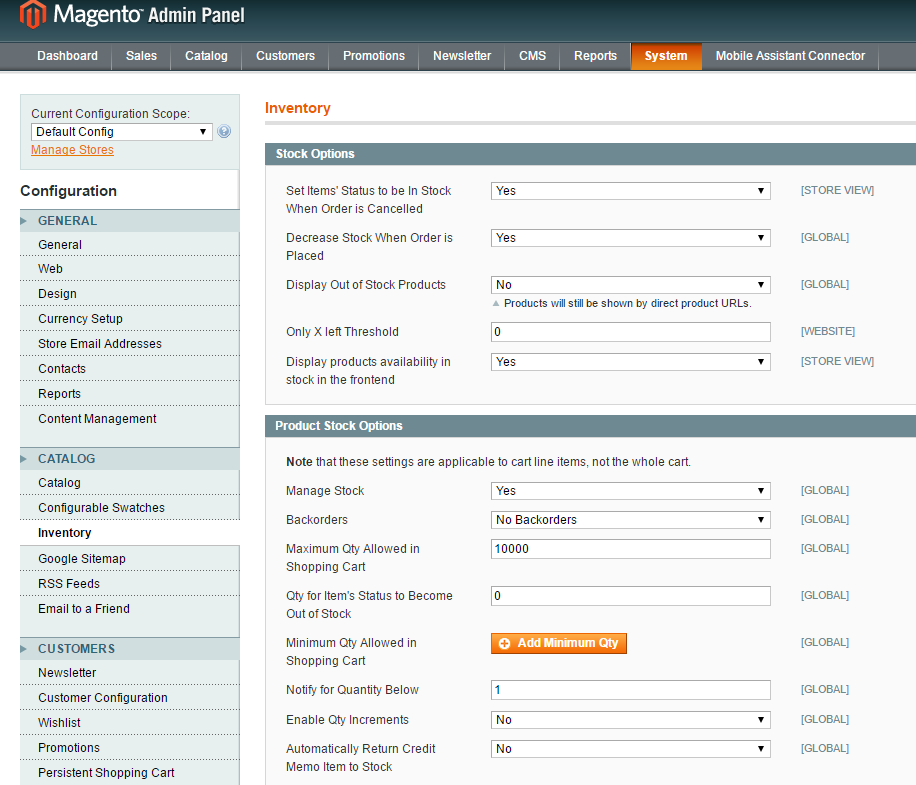 magento inventory settings for product