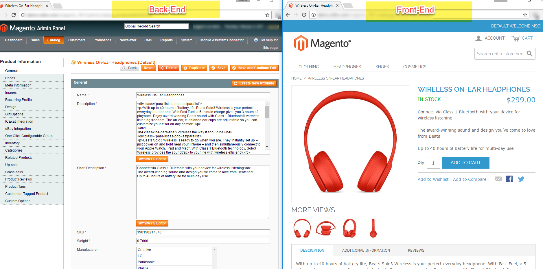magento frontend and backend