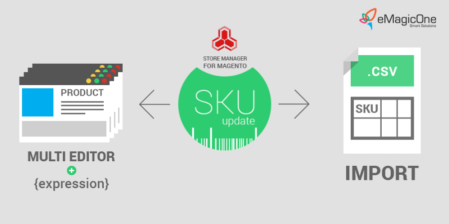 update SKU for multiple products in magento