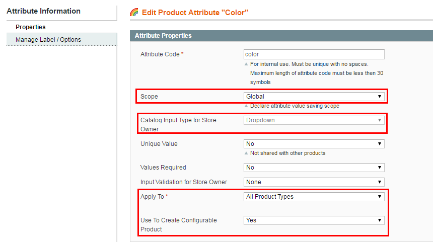 magento configurable attribute
