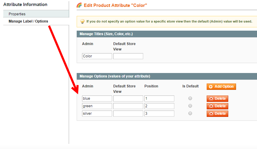 magento superattribute options