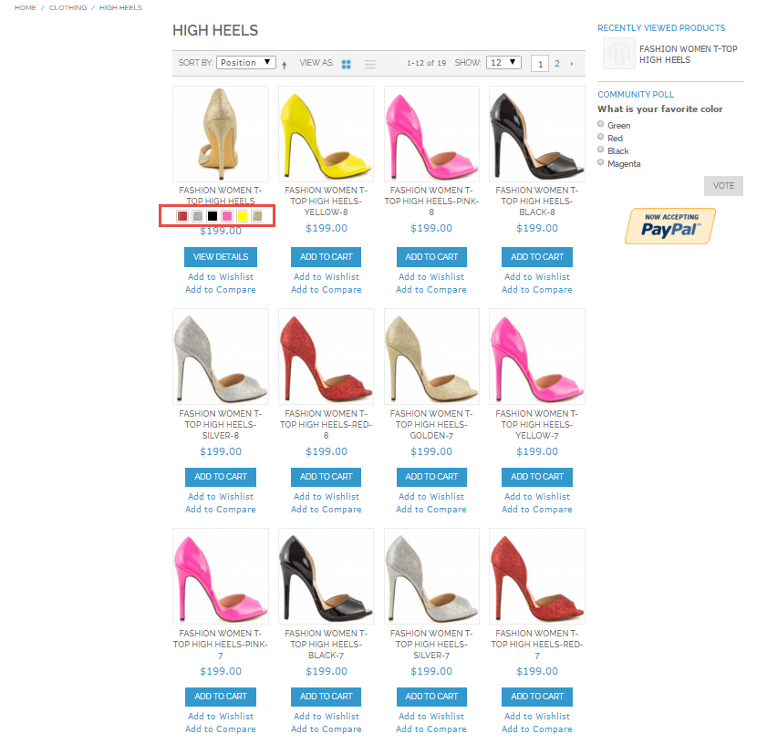 magento configurable product swatches