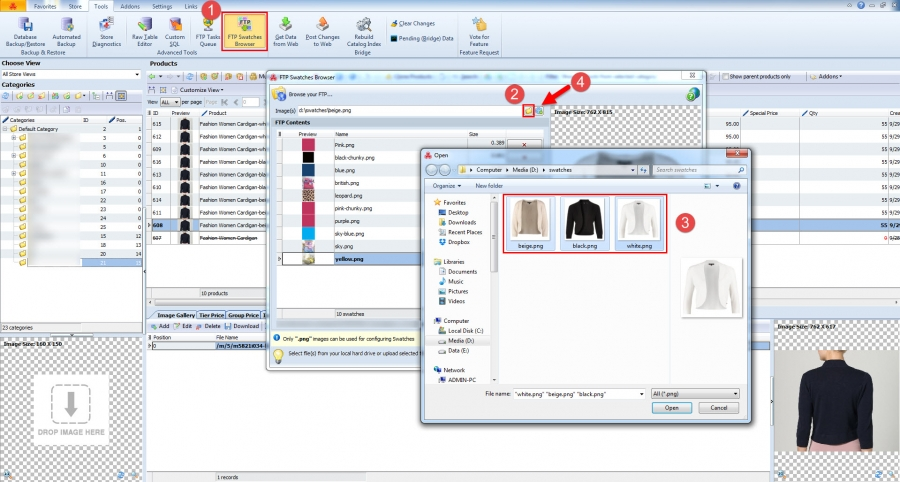 magento swaches uploaded with store manager