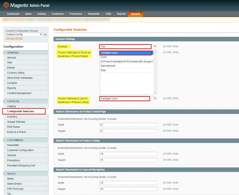 magento swatches settings in admin