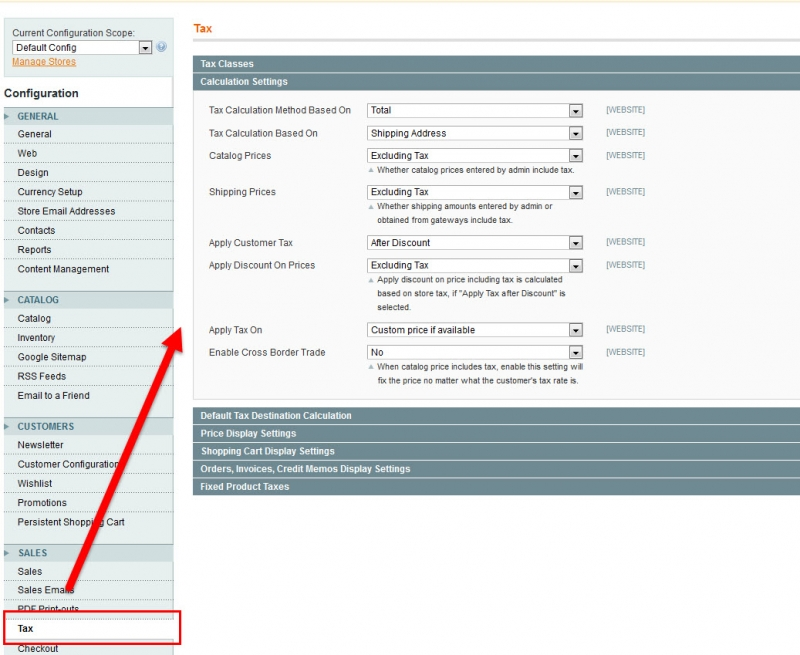 magento tax settings