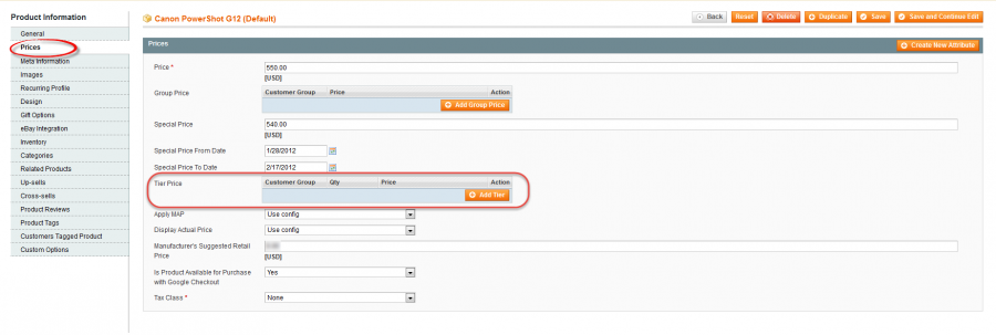 magento price management