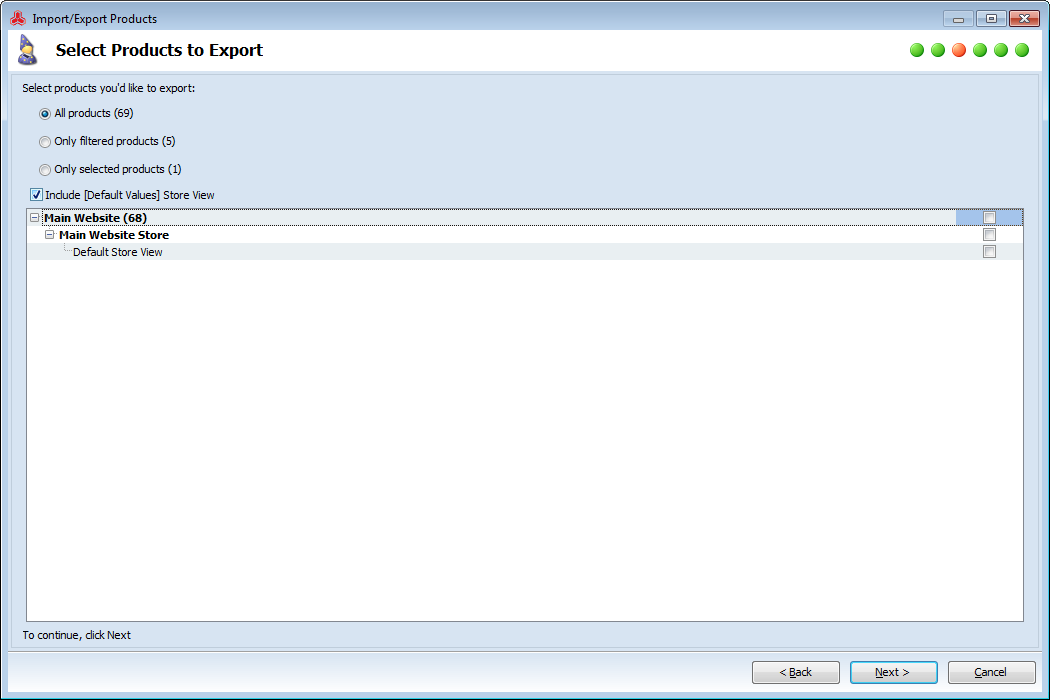 magento export all or selected products