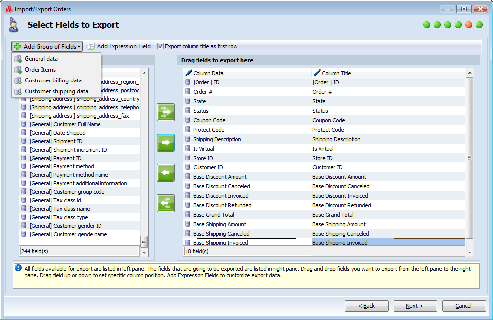 magento export orders with products and related details