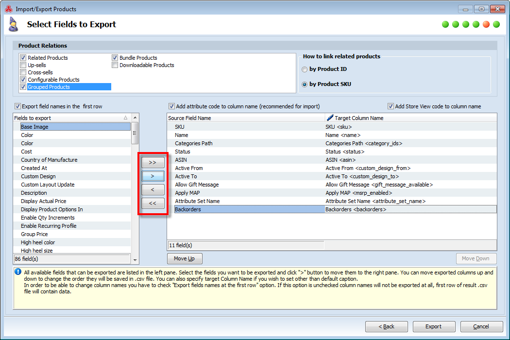 magento product export fields
