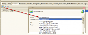 Magento Store Manager - you can select a website you plan to add group price or tier price to.