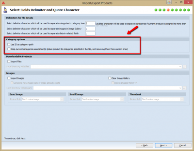 New Magento Category options section has been added in Import Wizard