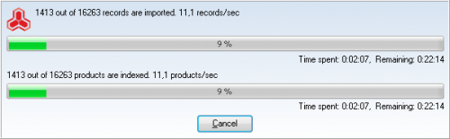 magento import progress bar