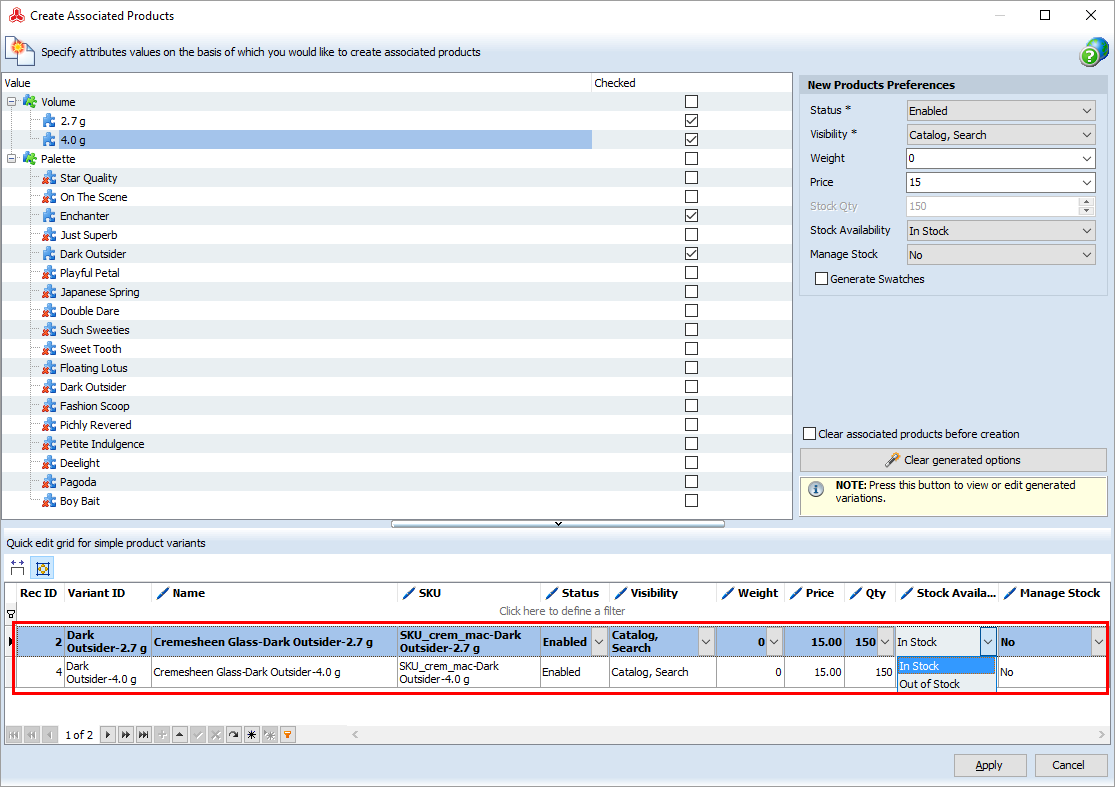 generate magento associated products to configurable
