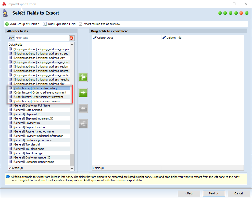 magento export of order history