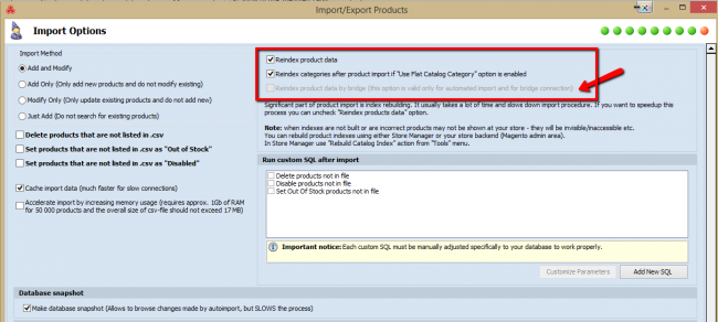 magento auto import options