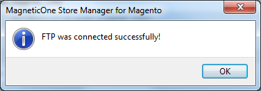 Store Manager for Magento Connection Successful