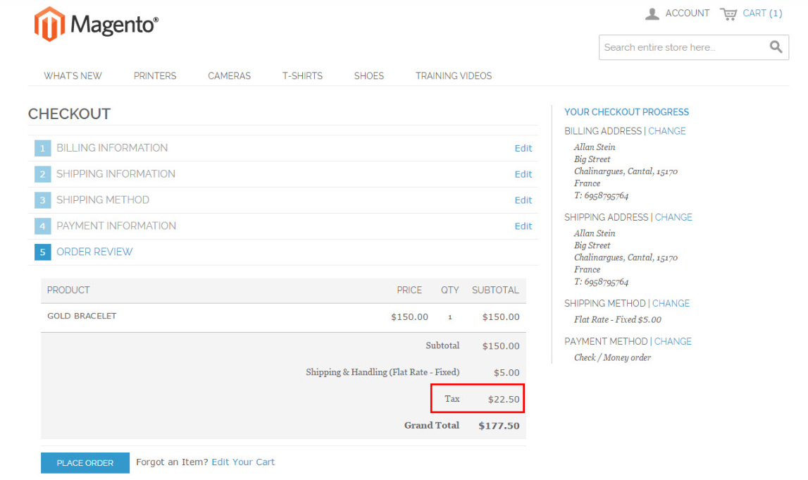 Magento tax applied