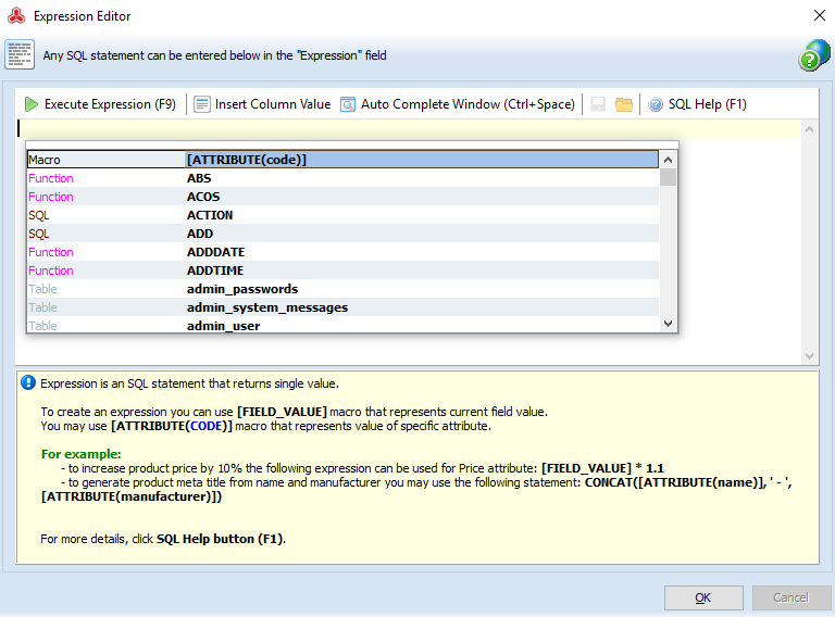 Use Expression Editor to modify Magento source data with SQL statements