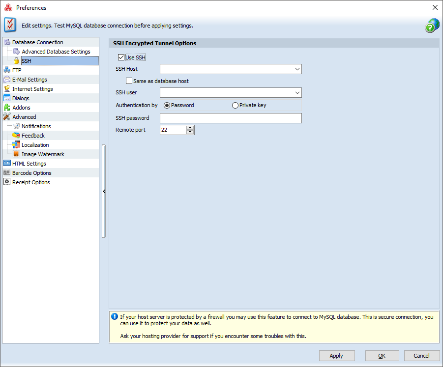 magento ssh settings in preferences