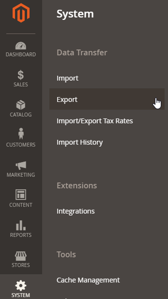 Export sources data