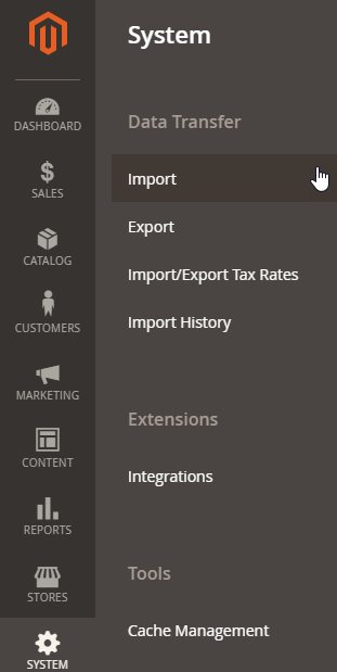 Import sources data