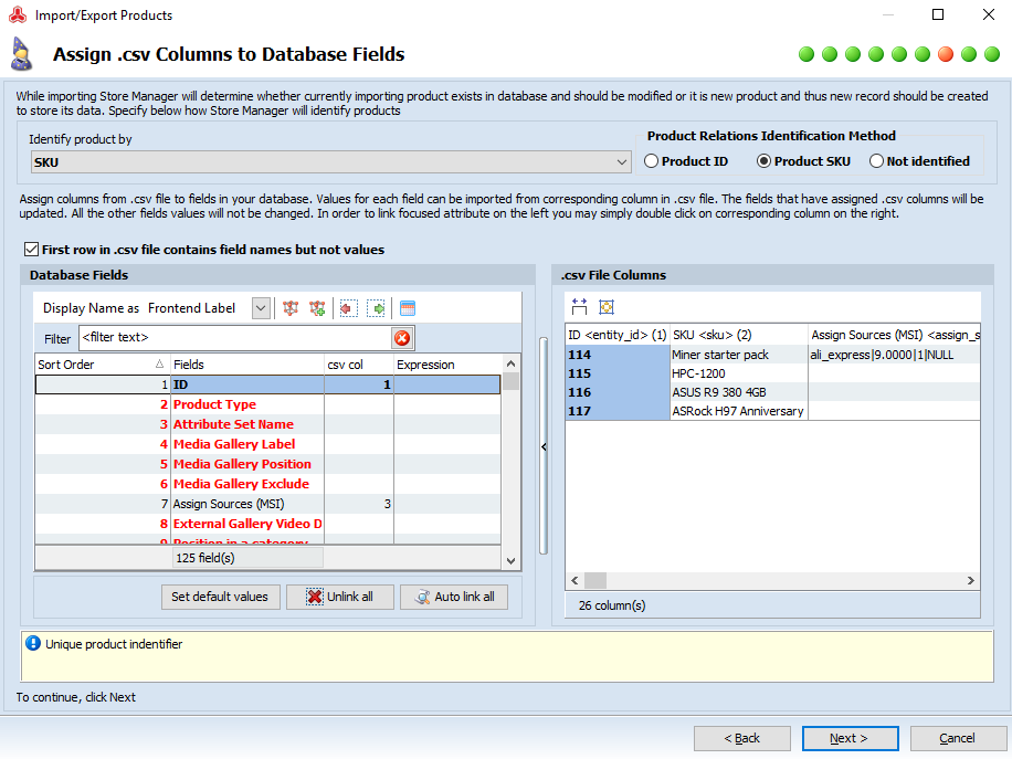 Map database msi fields to csv columns