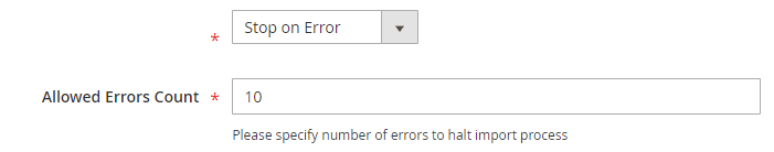 Specify Whether to Stop Import If Error Occurs