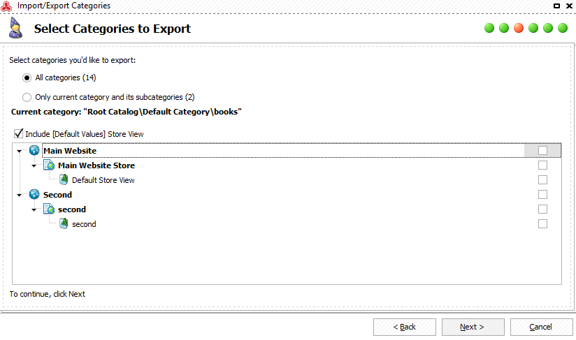Check what categories to export