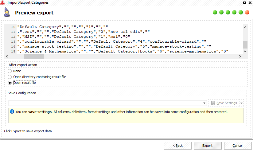 Preview the CSV before running export