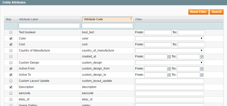 Select what entity attributes to export