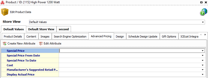 Open Advanced pricing tab and fill out the fields