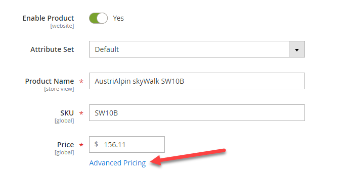 Open Magento 2 Advanced Pricing settings