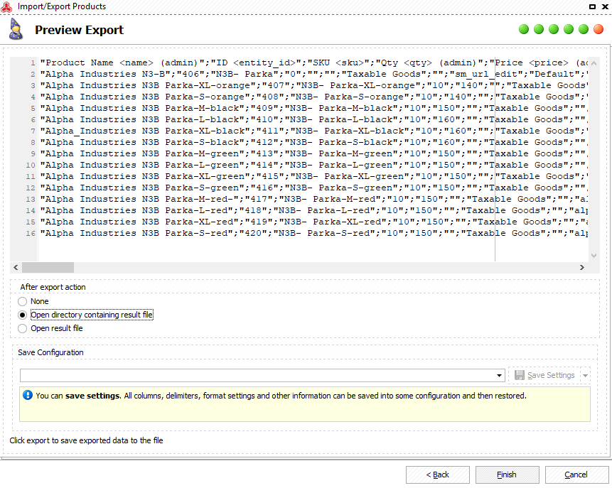 Preview Magento 2 exported products CSV