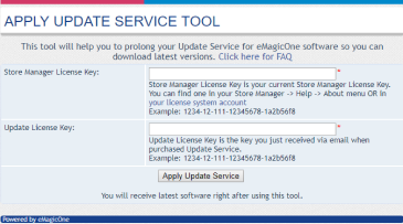 >Apply Update Service Key to Your Existing License