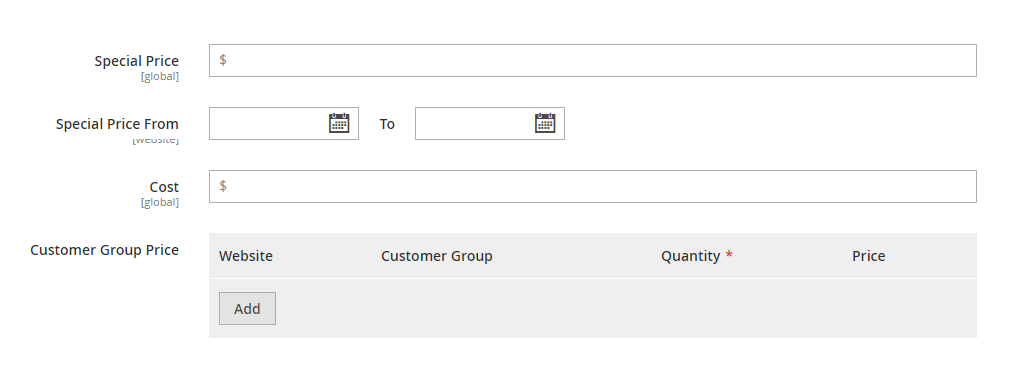 Press Add button in the Customer Group Price row