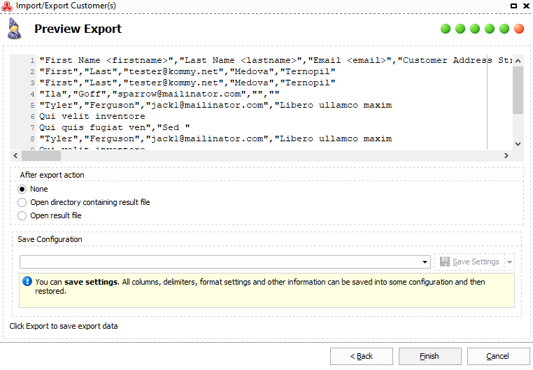 Preview Magento 2 customers export and select an after-export action
