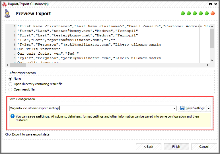 Save export configuration to file if necessary