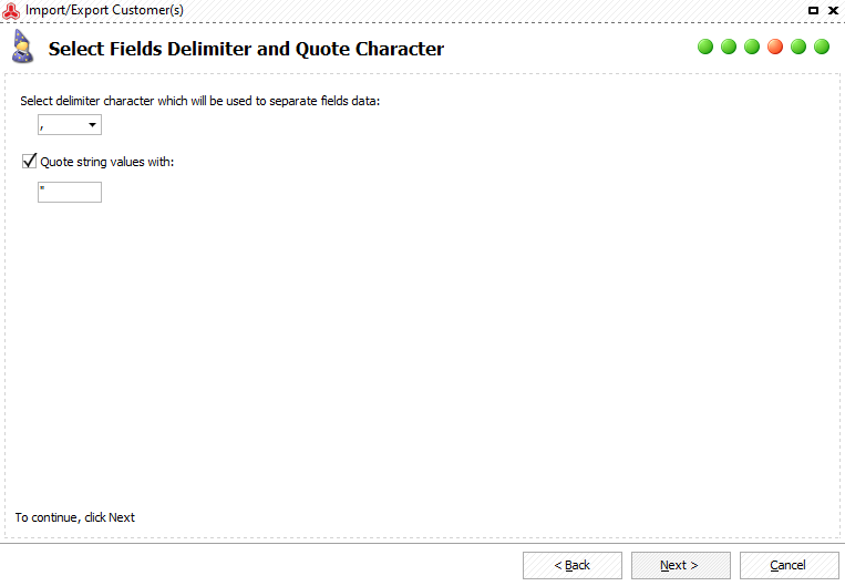 Specify delimiters to separate fields data
