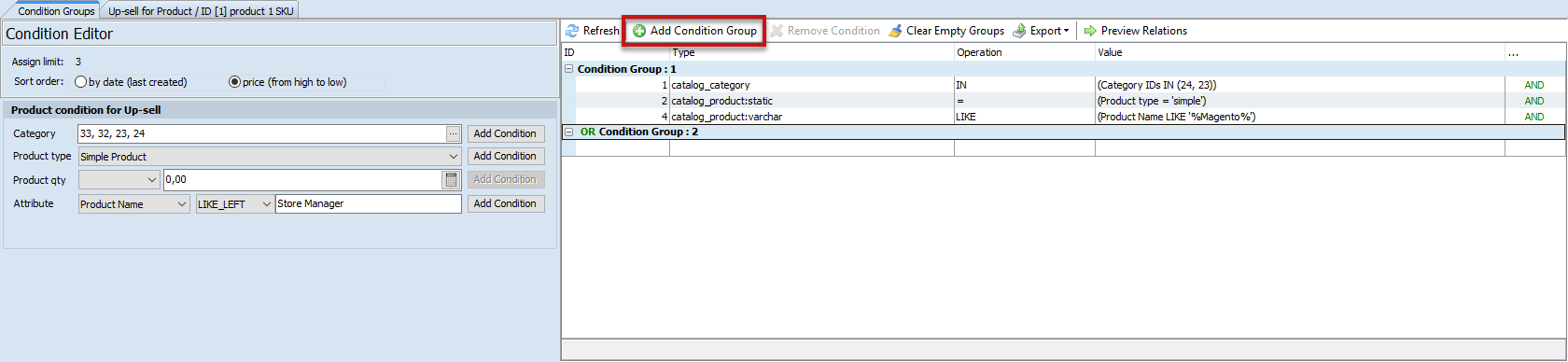 Condition editor related product generator for up sells
