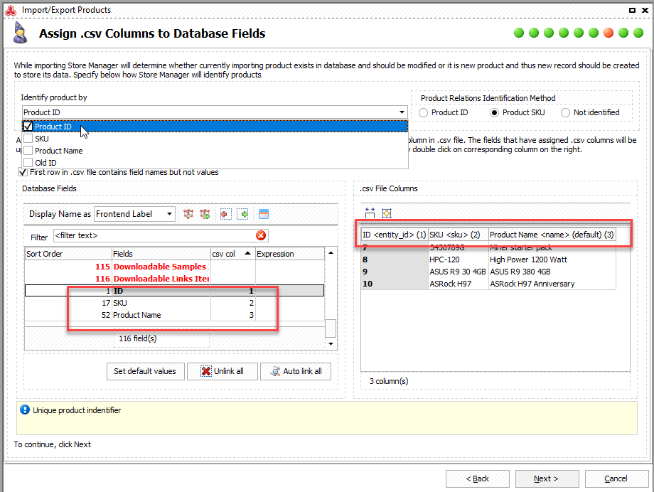 Check Columns Mapping Updating SKUs