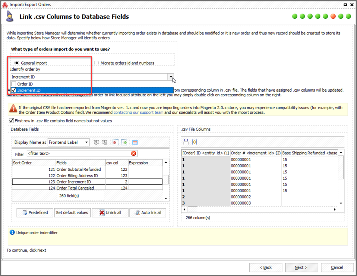 Linking CSV Columns to Database Fields Importing Orders to Magento