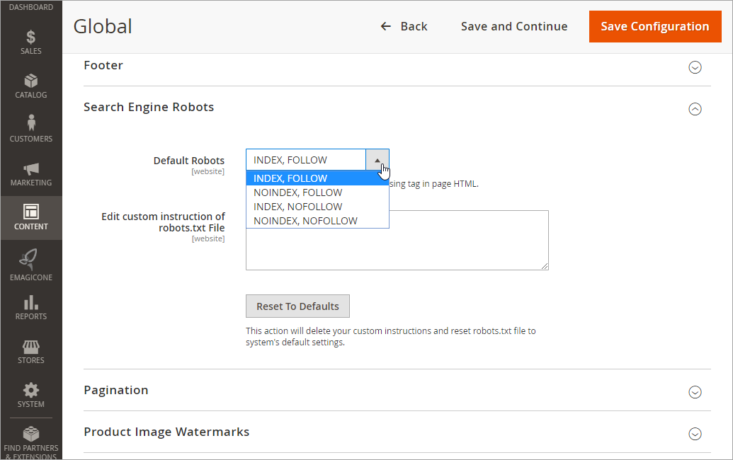 Magento 2 Content Global Settings