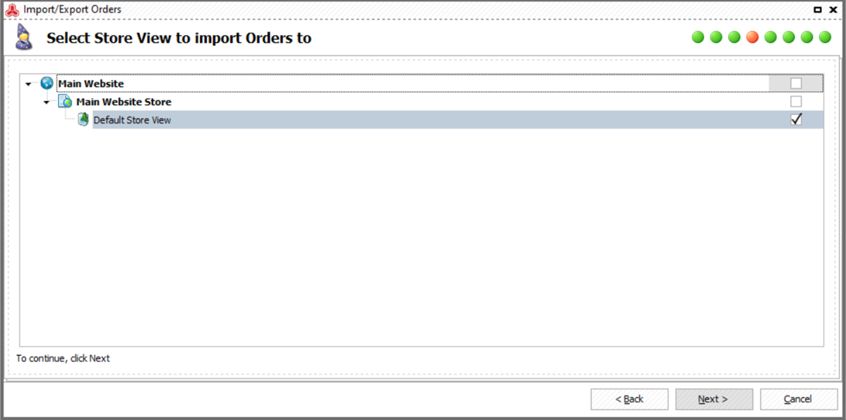 Select Store View Importing Orders