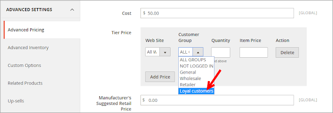 magento 2 group price in admin