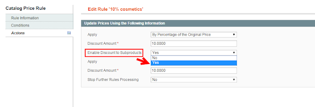 magento price rules for configurable products